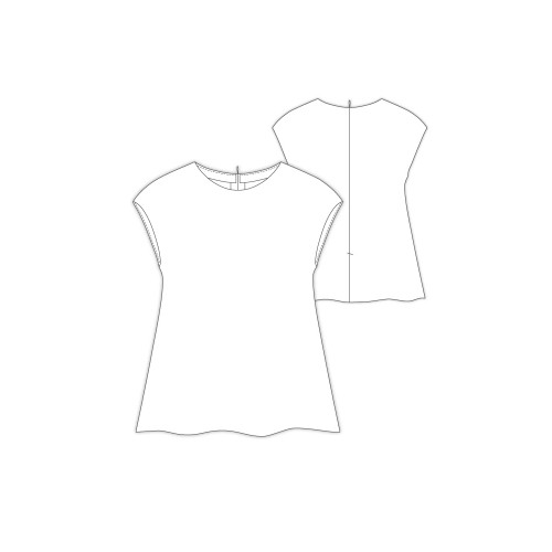 Tailoring- 6pulishiera /  Aラインフレンチスリーブトップ