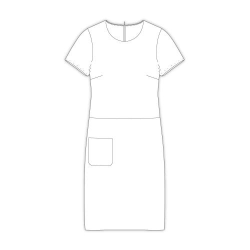 Tailoring- 8Rudy/ クルーネック、ソフトコンシャス半袖ワンピース