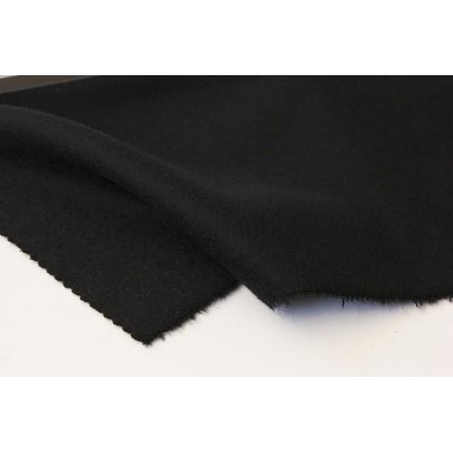 カシミア混ウールコート、ブラック