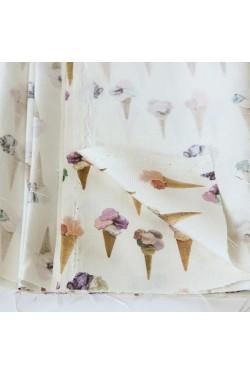 【品切れ】春夏 シルクのアイスクリーム柄プリント生地 オフホワイト /10cm単位